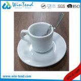Taza y platillo de café blancos comerciales al por mayor del café express de la porcelana