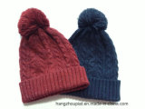 Женщина Twisted Special Yarn Knitted Winter Hat с Pompom (SPTLH16012)