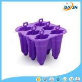 Molde material 100% Food-Grade Não-Pegajoso do gelado do silicone de 6 cavidades