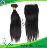 El pelo Weft de Remy del pelo humano del 100% junta las piezas del encierro del cordón
