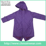 Purple Color PVC Waterproof Raincoat for Outdoor Cycling