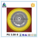 China-Lieferanten-Stahlkante-Gelb PU-Schaum-Rad 3.00-8
