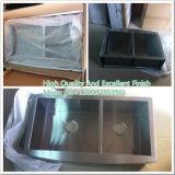 A bacia Handmade do dobro do avental do aço inoxidável zero raios personaliza o dissipador de cozinha