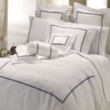 100% Cotton egiziano 600tc Cotton Percale Crisp White Bedding Linen (DPFB8087)