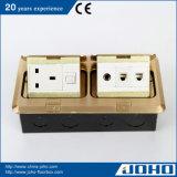 IP44 Waterproof caixas do assoalho e o áudio levantados bronze da tomada CAT6 do soquete 13A da mesa