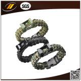 Qualität Paracord 550 Überlebens-Armband mit justierbarem Edelstahl-Haken (HJ6065)