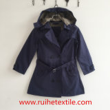 Modo Navy Woven Trench Coat/Overcoat/Jacket/Hoodie per Women