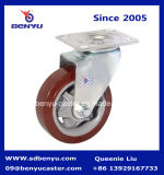 Продетое нитку Swivel Stem Caster с Friction Brake Purplish Red Zinc Coated Frame