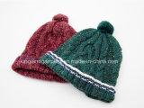 Шлем зимы 100% теплый акриловый связанный голубой с Pompom