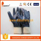Guanto di funzionamento Dcn406 del nitrile completamente del rivestimento del cotone della fodera blu della Jersey