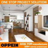 Liberar los muebles de madera de la sala de estar del grano del proyecto del apartamento del diseño (OP15-HOUSE4)