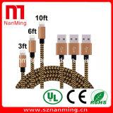 cuerda extralarga de carga tejido nilón popular del USB del cable del cable del relámpago de los 6FT para el iPhone