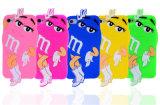 Acessórios brancos do telefone móvel da caixa do silicone dos carregadores das luvas da beleza do feijão de M&M dos desenhos animados (XSR-018)