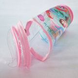 Transparente PVC Cilindro Shape Zipper Bag Pencil Case
