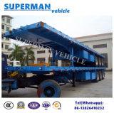 Tri semi-remorque de cargaison de lit plat de l'essieu 40FT pour le bois de cargaison de conteneur