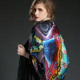 Scialli sexy neri della signora Digital Printing Silk Scarves
