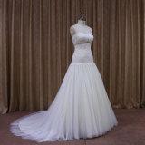 Vestidos de casamento Ivory do laço frisado com cristal