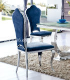 Hoher Glanz-moderner Edelstahl-niedrige speisende Stuhl-Ausgangsmöbel