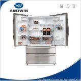 Aucun réfrigérateur de porte française de gel avec le cycle duel de générateur de glace