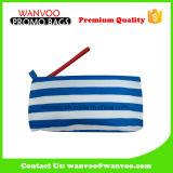 Bolsa cosmética del lápiz del algodón de la lona de las rayas del azul y del blanco de marina