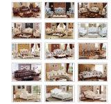 Sofá secional de couro de madeira de Handcaved da mobília Home antiga