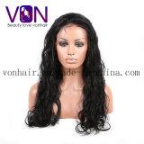 Carrocería completa de las pelucas del cordón del pelo natural brasileño ondulada con el pelo del bebé