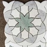 Modelo de mosaico de piedra natural de agua del medallón de mármol del jet