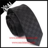 Il Mens scarno tessuto jacquard di seta di 100% lega il nero solido