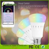 Teléfono inteligente controlada luz del día y de la noche de luz regulable multicolor que cambia de color E27 7W 9W 12W RGB LED RGBW aplicación inteligente WiFi