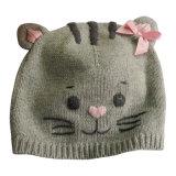 Тяга пряжи новизны шлема ребенка зимы способа коренастая связанная цветастая на Beanie с симпатичным Poms для малышей