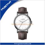 アーチ形にされたガラス自動動きの流行の本革ストラップの腕時計