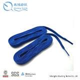 Cordón trenzado del patín del hockey de la cuerda plana del algodón del 100% con herrete del metal