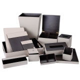 Hotel Black PU Leather Amenities Bandeja com veludo
