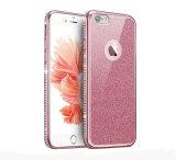 Plaquant le perçage unilatéral avec le cas mou du scintillement TPU pour le cas 6splus 7 7plus en cuir de l'iPhone 6 (XSDD-086)