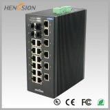 18 de 4 gigabits do SFP do Ethernet interruptor industrial portuário elétrico e