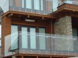 Pasamano de cristal del pórtico al aire libre con la abrazadera del vidrio del acero inoxidable
