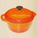 エナメル塗料が付いている円形の鋳鉄のカセロールの調理器具