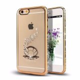 iPhone 7 Diamanten van het Kristal ontruimt het RubberGeval van het Frame TPU van het Plateren