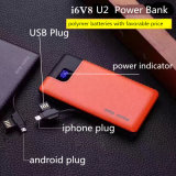 PU Leather Texture 6000mAh Power Bank avec indicateur LED