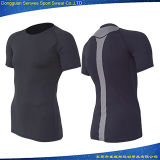 Vêtements de sport courants de T-shirt de forme physique d'impression de sublimation d'hommes