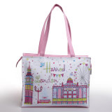 Pink Waterproof PVC Large Capacity Shopping Bag (H006)
