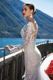 Vestido de casamento longo da luva da sereia de Ariana
