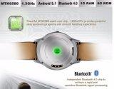 No. 1 la frequenza cardiaca astuta del pedometro della ROM di RAM 8GB del Android 5.1 Mtk6580 1GB della vigilanza di D5+ ha alimentato dal telefono il no. 1 D5 del Mediatek Smartwatch più il nero astuto del telefono