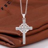 Het nieuwe Zilver van de Juwelen van Vrouwen plateerde de DwarsHalsband van de Tegenhanger in Zircon