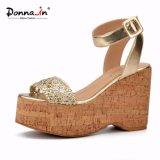 (Donna-в) сандалии платформы пробочки женщин планки лодыжки способа сотка высокие