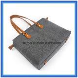 Sacchetto di mano portatile ecologico di acquisto del feltro delle lane di disegno semplice, sacchetto di acquisto molle pratico del Tote con la maniglia comoda di cuoio