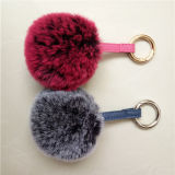 かわいく柔らかい偽造品のキツネの毛皮POM Pomsの銀製Fox Keychainの擬似毛皮のポンポン