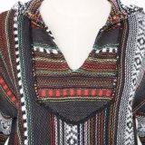 Veste en jersey à capuche pour dames en coton lourd avec poches et conception intarsia