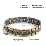 Überzogenes Schwarz-und Goldmagnetisches negatives Ionengesundheits-Armband