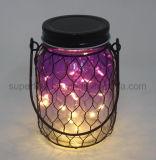 夏の反射のピンクのガラス電池式の点滅の暖かい白LEDの瓶ライト